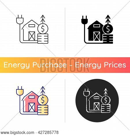 Rural Energy Price Icon. Electrical Power Consumption In Villages And Country Ares. Financial Expens