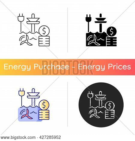 Tidal Energy Price Icon. Hydropower Resource Supply Production Cost. Renewable Power Generation Stat