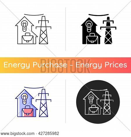 Electric Utility Icon. Electricity Power Industry Production. Resource Supply For Residential Buildi