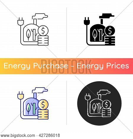Biomass Energy Price Icon. Sustainable Power Consumption Cost. Renewable Source Of Electricity. Indu