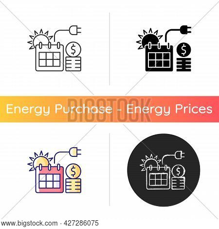 Energy Pricing In Summer Icon. Electricity Cost In Seasonal Period. Financial Standard For Utility S