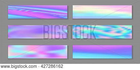 Holographic Cute Flyer Horizontal Fluid Gradient Princess Backgrounds Vector Set. Foil Hologram
