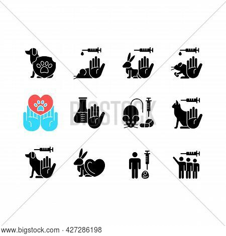 No Animal Testing Black Glyph Icons Set On White Space. Dog And Cat Protection. Pet Friendly Mark. C