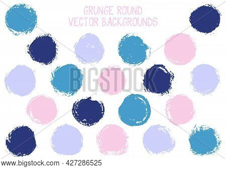 Vector Grunge Circles. Distressed Post Stamp Texture Circle Scratched Label Backgrounds. Circular Ta