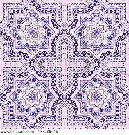 Retro Moroccan Zellige Tile Seamless Ornament. Ethnic Geometric Vector Motif. Pottery Print Design.
