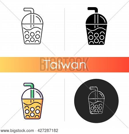 Taiwanese Bubble Tea Icon. Black Tea With Milk, Ice And Chewy Tapioca Pearls. Boba Drink. Common Des