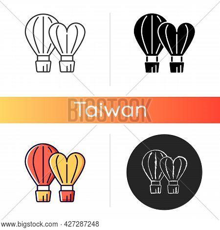 Taiwan International Balloon Festival Icon. Flight Technology. Hot Air Balloons Feast. Taiwanese Fes