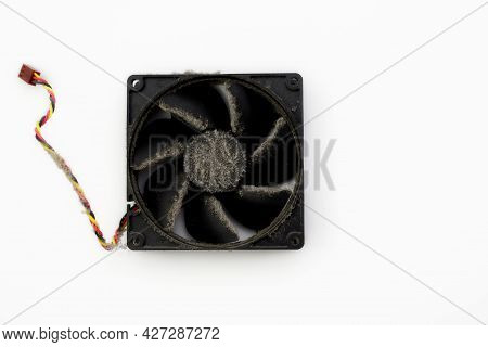 Dusty Cooler Of The System Unit On A White Background.