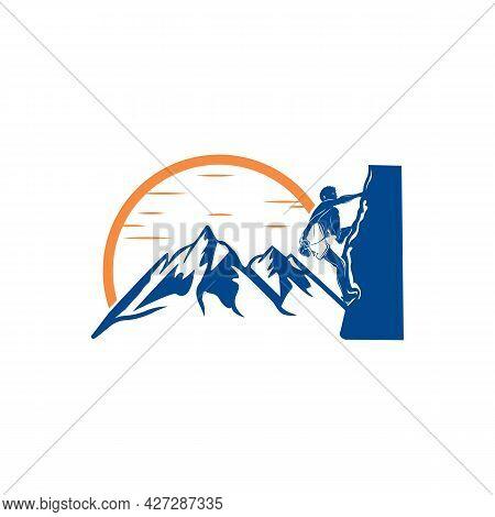 Climber Logo And Label Vector. Climbing Sport, Climbing Symbol, Climbing Hobby Illustration.eps 10