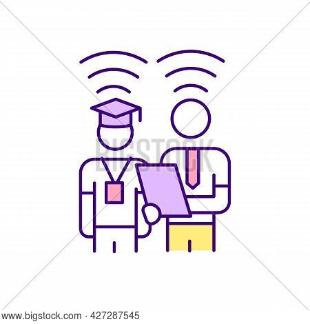 Virtual Mentoring Rgb Color Icon. Online Communication Between Mentor And Mentee. Isolated Vector Il
