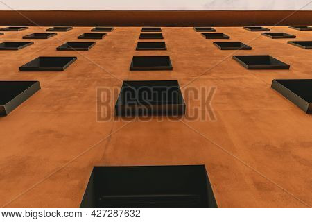 Abstract Modern Architecture Background In Minimal Style. Urban Geometric Pattern. Building With Ter