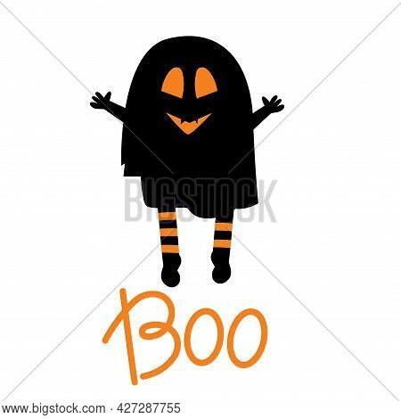 A Cast With The Inscription Boo Is Isolated On A White Background. Vector Illustration For The Hallo