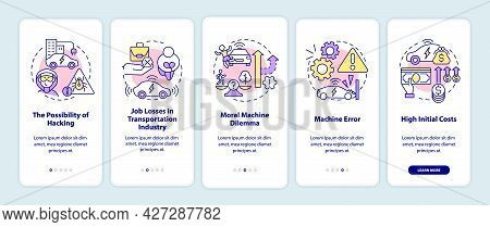 Self-driving Cars Cons Onboarding Mobile App Page Screen. Ev Bad Sides Walkthrough 5 Steps Graphic I