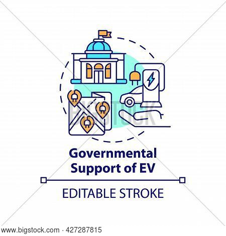 Electric Vehicles Governmental Support Concept Icon. Eco Cars Buying Promotion Abstract Idea Thin Li