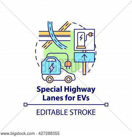 Electric Vehicles Special Highway Lanes Concept Icon. Ev Integral Part Life Quality Abstract Idea Th