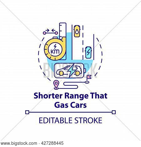 Electric Vehicles Short Range Concept Icon. Ev Tailpipe Emissions Making Abstract Idea Thin Line Ill