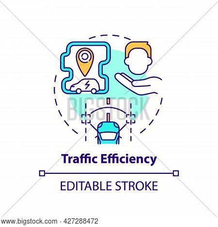 Ev Traffic Efficiency Concept Icon. Electric Vehicle Comfort Using Abstract Idea Thin Line Illustrat