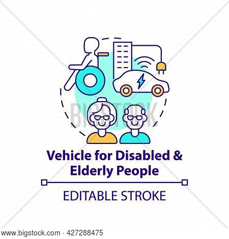 Disabled And Elderly People Vehicle Concept Icon. Autonomous Cars Benefits. Transforming Mobility Ab