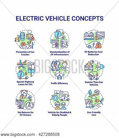 Electric Vehicle Round Concept Icons Set. Hybrid Car Technologies Abstract Idea Thin Line Color Illu
