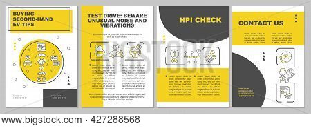 Second Hand Ev Purchase Brochure Template. Flyer, Booklet, Leaflet Print, Cover Design With Linear I