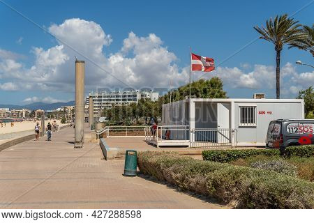 Platja De Palma, Spain; July 16 2021: First Aid And Medical Emergency Post On The Promenade Of The B