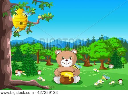 A Teddy Bear With A Honey Pot Sits Under A Tree With A Beehive. Fairy Tale Vector Illustration Of A
