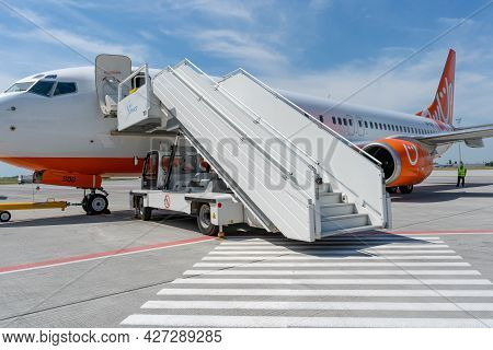 Ukraine, Odessa - July 16, 2021: Passenger Aircraft Boeing 737-8z0 Skyup Airlines Aircraft - Ur-sqg