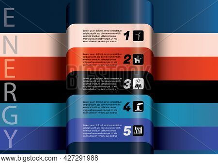 Abstract 3d Energy Power Generation Infographics. Wind, Hydro, Solar, Fossil Fuels And Nuclear Power