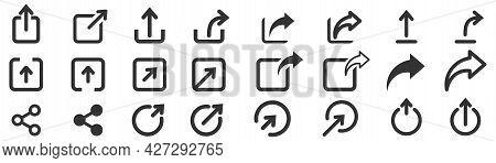 Share Icons Set. Social Media Button. Transparent Share Pictogram. Linear Arrows. Link Symbol. Stock