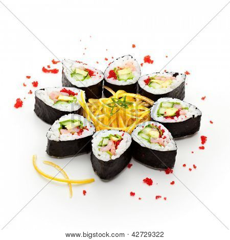 Maki Sushi made of Cucumber, Prawn (ebi), Avocado, Salad Leaf and Tobiko (flying fish roe) inside. Nori outside