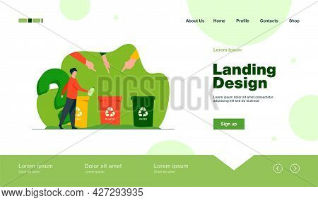 Man Throwing Out Plastic Bottle To Right Container. Hand, Trash, Waste Flat Vector Illustration. Env