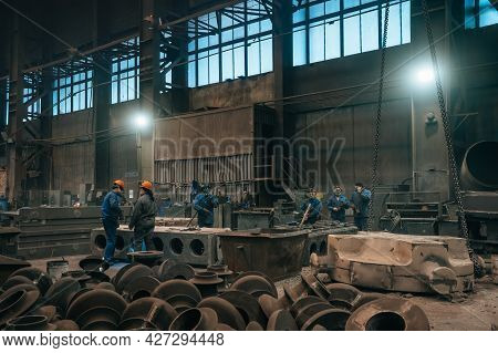 Heavy Industry Manufacturing Factory, Metallurgical Plant Workshop Inside. Metallurgy Manufacturing
