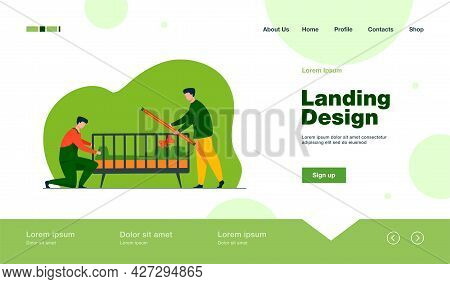 Handymen Installing Child Cot In Room. Assembly, Tool, Worker Flat Vector Illustration. Furniture An