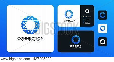 Connection Technology Shape Vector Digital Logo Design. Logo Can Be Used For Icon, Brand, Identity,