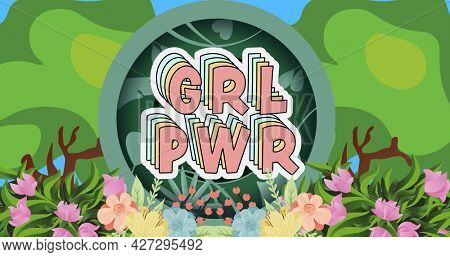 Composition of text girl power over forest. girl power, positive female strength and independence concept digitally generated image.
