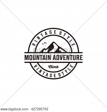 Mountain Adventure Badge Vintage Retro Silhouette Logo Design. Logo Can Be Used For Icon, Brand, Ide