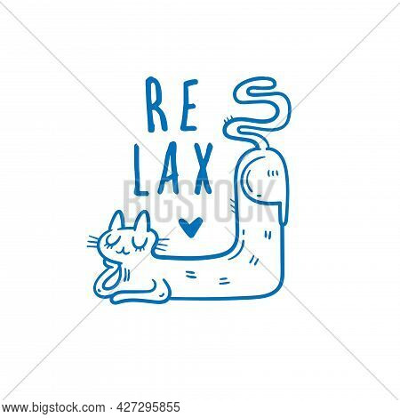 Card With  Cute Cartoon Relax Cat.  Funny Doodle Kitten. Vector Contour Image. Sleeping Animal Print