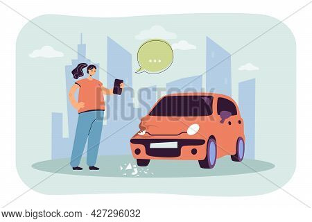 Girl Taking Photo Of Damaged Car Flat Vector Illustration. Woman Getting Into Accident, Smashing Hea