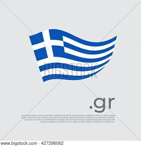 Greece Flag. Colored Stripes Greek Flag On A White Background. Vector Design Of National Poster With