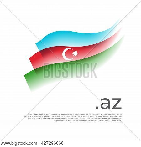 Azerbaijan Flag Watercolor. Stripes Colors Of The Azerbaijani Flag On A White Background. Vector Sty