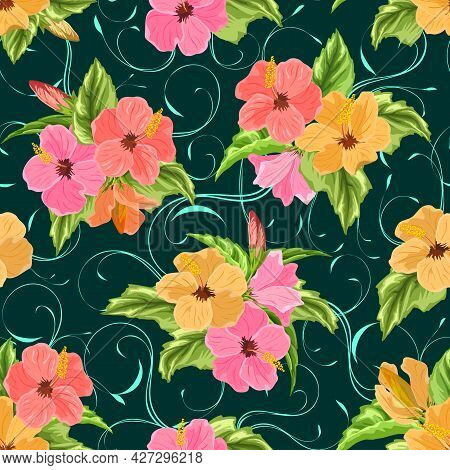 Hibiscus Bouquets On A Colored Background.vector Pattern With Bouquets Of Hibiscus On A Colored Abst