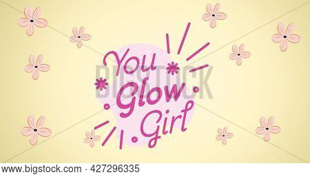 Composition of girl power text on yellow background. girl power, positive female strength and independence concept digitally generated image.