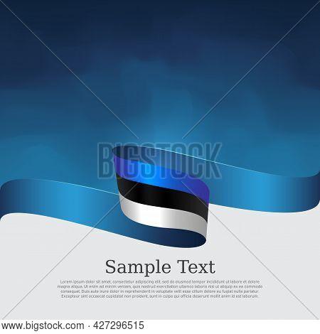 Estonia Flag Background. Estonian Flag Wavy Ribbon On Blue White Background. National Patriotic Post