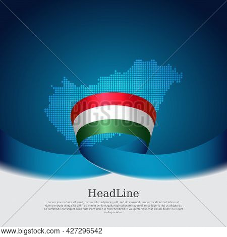Hungary Flag, Mosaic Map On Blue White Background. Wavy Ribbon With The Hungarian Flag. Vector Banne