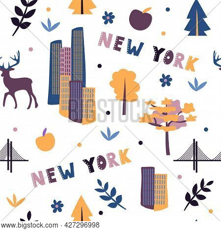 Usa Collection. Vector Illustration Of New York Theme. State Symbols - Seamless Pattern