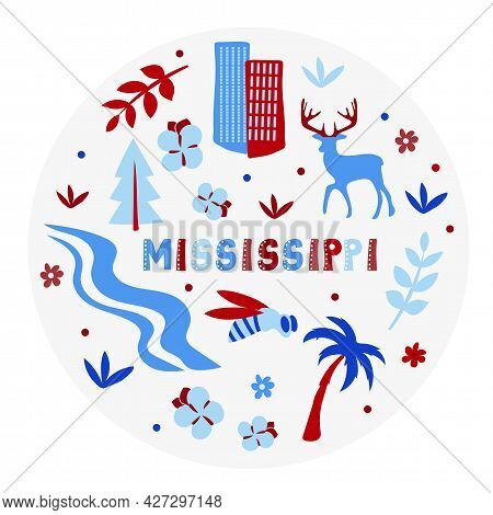 Usa Collection. Vector Illustration Of Mississippi. State Symbols - Round Shape