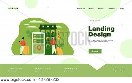 Happy Tourists Choosing Hotel And Booking Room Online Flat Vector Illustration. People Doing Search