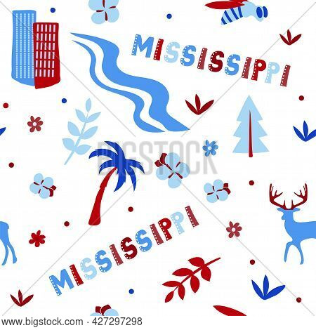 Usa Collection. Vector Illustration Of Mississippi Theme. State Symbols - Seamless Pattern