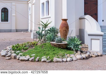 A Small Formal Garden At The Entrance Of The Dutch Reformed Church, In Steytlerville In The Eastern