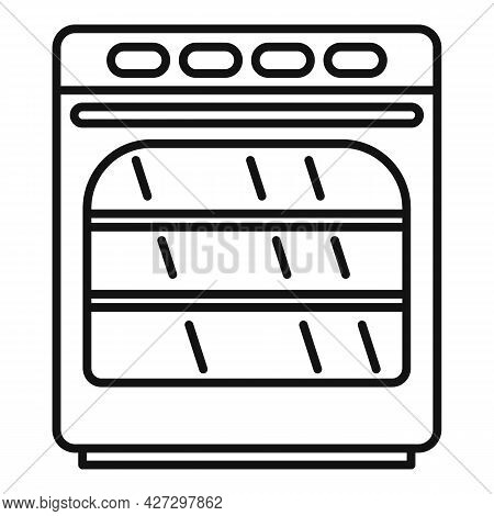 Convection Oven Icon Outline Vector. Electric Kitchen Stove. Grill Convection Oven